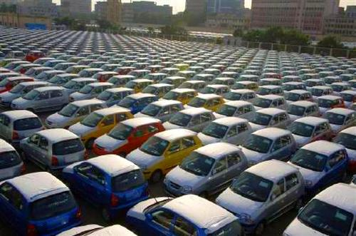 Hyundai cars are seen ready for shipment at a port in Chennai.