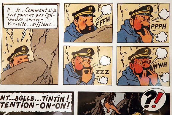 An original drawing by Belgium illustrator Herge from the Tintin comics is displayed in Paris.