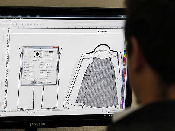 Worker designs bulletproof clothing for children at the Miguel Caballero factory on the outskirts of Bogota, Colombia.