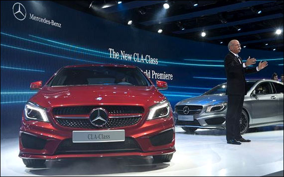 Dieter Zetsche presents the new Mercedes-Benz 2014 CLA-Class sedan a sporty-looking
