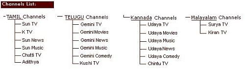 Chart shows channels that are part of Sun Network.