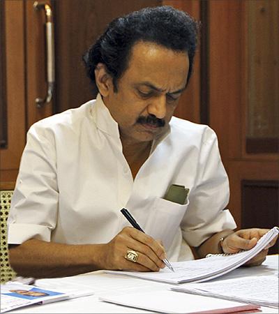 M. Karunanidhi's son M.K. Stalin.