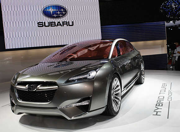 Subaru Hybrid Tourer concept car in Chiba, east of Tokyo.
