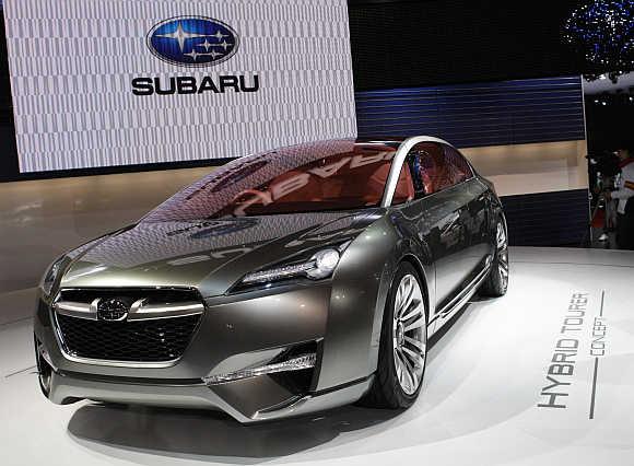 Subaru Hybrid Tourer concept car in Chiba, east of Tokyo.
