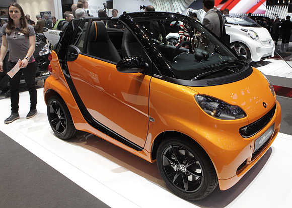 Smart Fortwo convertible car in Geneva.