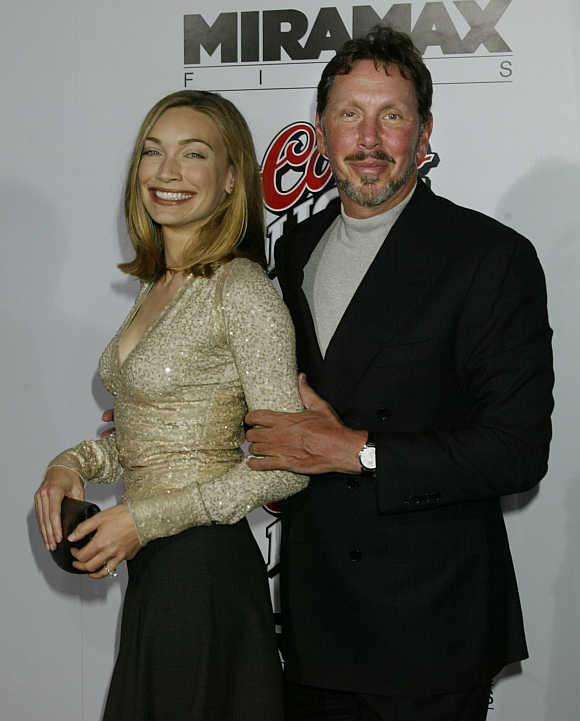 Larry Ellison with fiancee Melanie Craft in Hollywood.