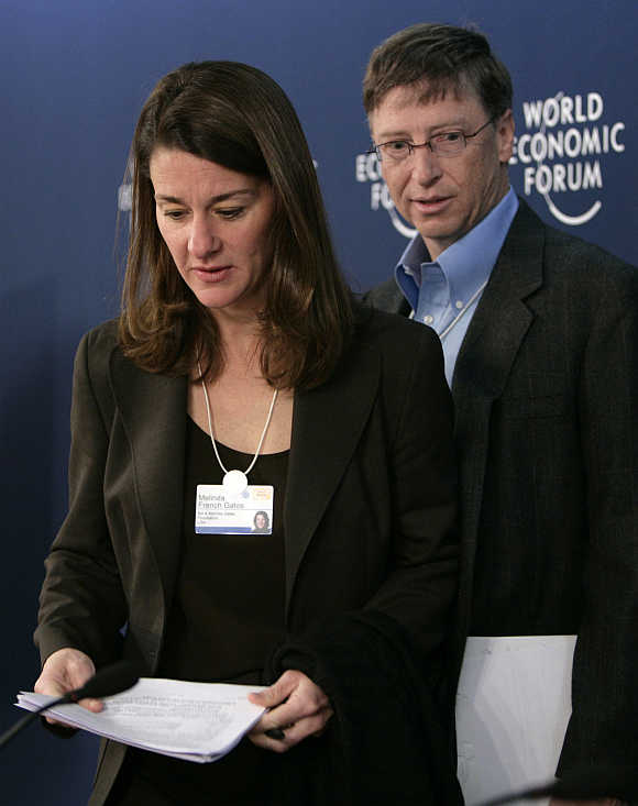 Bill Gates with wife Melinda in Davos, Switzerland.