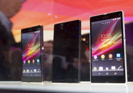 Sony displays Xperia Z smart phones.