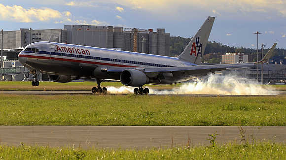 An American Airlines lands at the airport in Zurich, Switzerland.