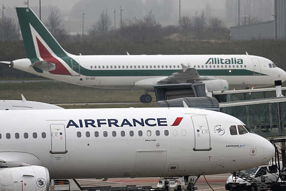 An Air France plane on the tarmac at Charles de Gaulles International Airport in Roissy near Paris.
