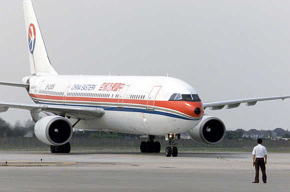 China Eastern plane taxis at Hong Qiao airport in Shanghai.