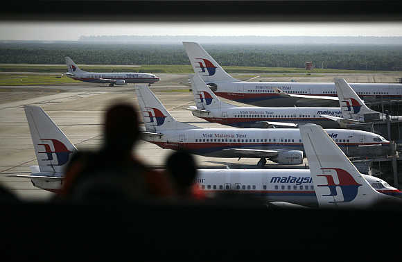 Malaysia Airline's planes at Kuala Lumpur International Airport in Sepang.