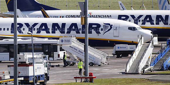 Ryanair aircraft at Edinburgh Airport in Scotland.