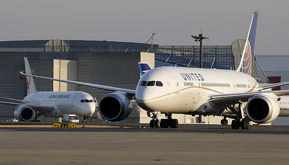 United Airlines's 787 Dreamliner plane taxis at New Tokyo international airport in Narita.