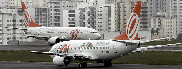 Gol passenger jets prepare to depart Congonhas airport in Sao Paulo, Brazil.