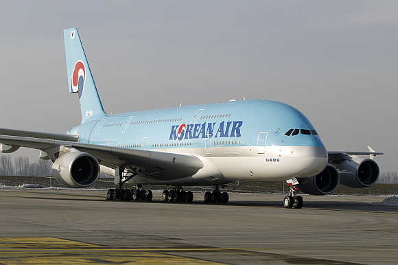 Airbus A380 airliner for Korean Air leaves the paintshop hangar at the Airbus facility in Finkenwerder near Hamburg, Germany.