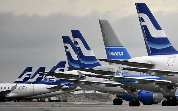 Finnish national airline company Finnair's planes on the tarmac of Helsinki international airport.