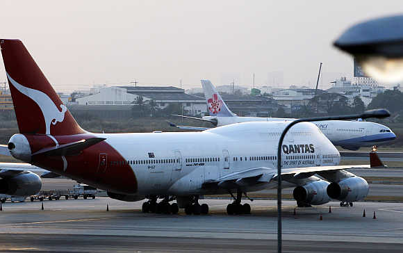 A Qantas Airways Boeing 747 at Bangkok's Suvarnabhumi airport.