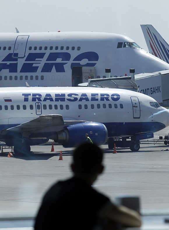Russian airline Transaero's aeroplanes at Moscow's Domodedovo airport.