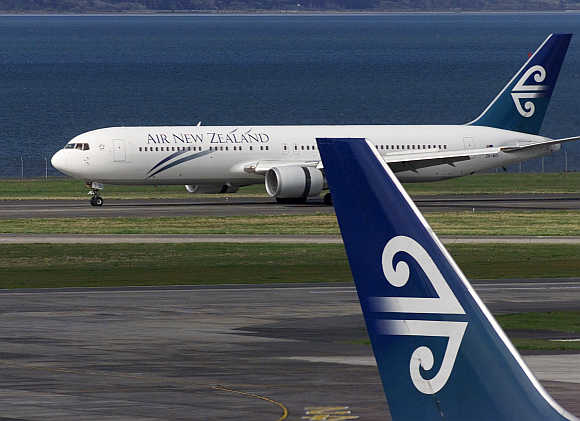 An Air New Zealand plane taxis at
