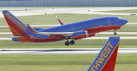 A Southwest Airlines plane takes off from Midway Airport in Chicago.