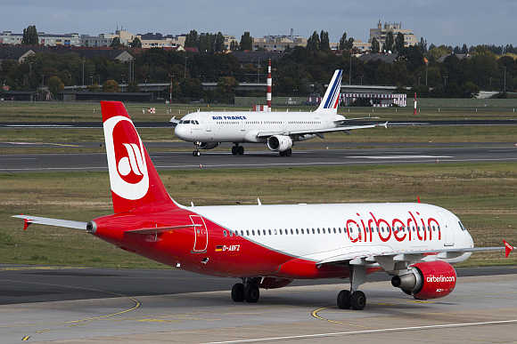 Air Berlin plane at Tegel Airport in Berlin.