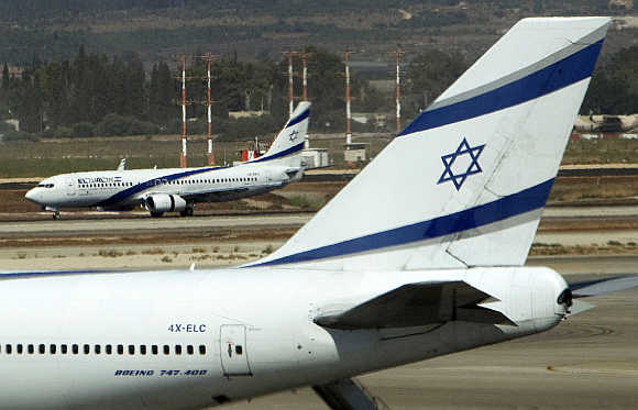 El Al airplanes at Ben Gurion International Airport near Tel Aviv.