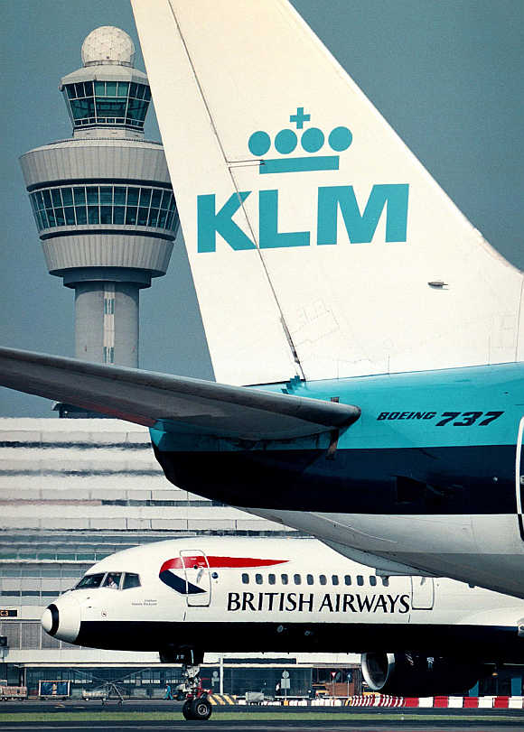 A KLM Royal Dutch Airlines 737 at Amsterdam's Schipol airport.