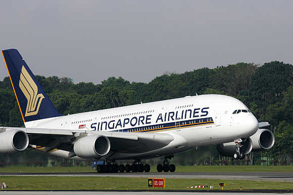 A Singapore Airlines A380 takes off from Singapore's Changi Airport.