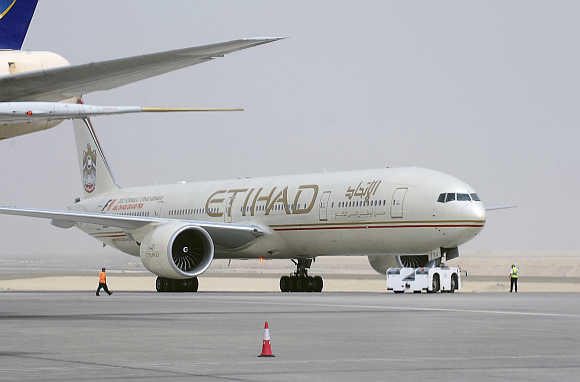 An Etihad Airways aircraft at Abu Dhabi International Airport.