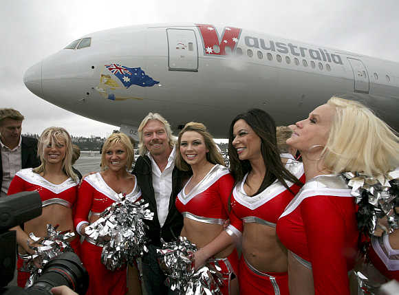 Virgin Chairman Sir Richard Branson at a ceremony to mark the delivery of the first Boeing 777-300ER for V Australia, in Seattle, Washington.