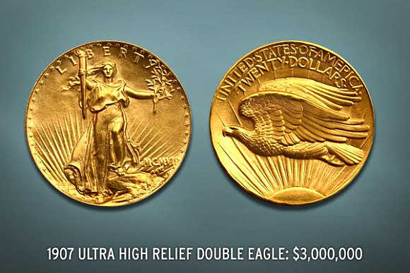 1907 Ultra-High-Relief Double Eagle's value is $3 million.