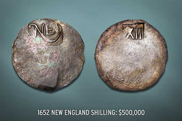 1652 New England Shilling's value is $500,000.