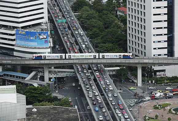 A skytrain in Bangkok.