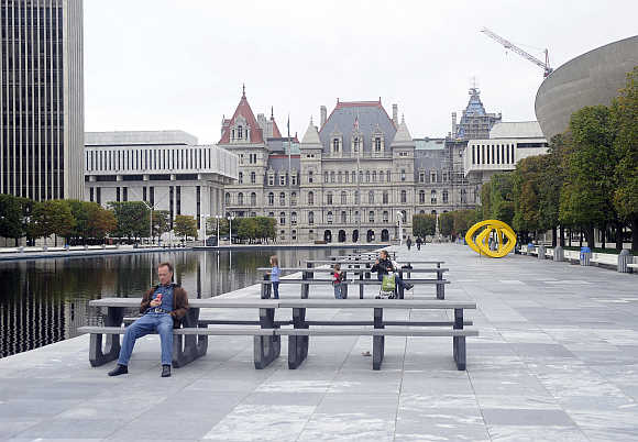 A view of the Empire State Plaza and the State Capitol in Albany, New York.