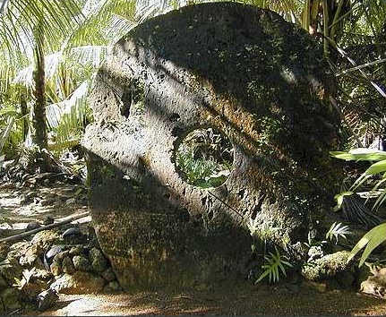 A rai stone on the island of Yap in the Solomon Islands.