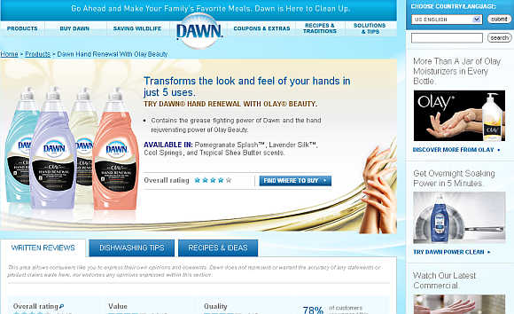 Dawn is a brand of dishwashing liquid owned by Procter & Gamble.
