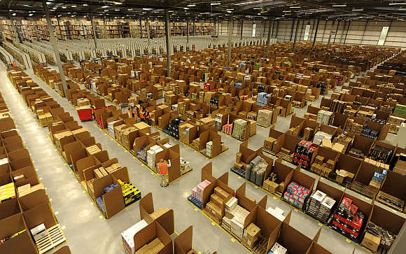 A view of Amazon's warehouse in Dunfermline, Scotland.