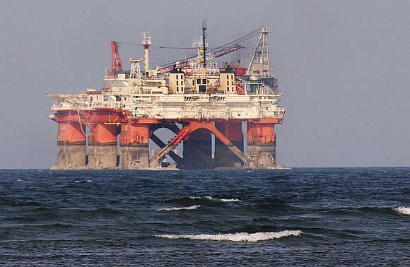 An drilling platform from state oil company Petroleos Mexicanos off the port of Veracruz, Mexico.