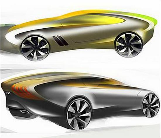 A computer-generated 3D image of a concept car by Hyundai.