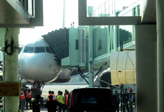 An aircraft gets ready for boarding at the new Kolkata airport.