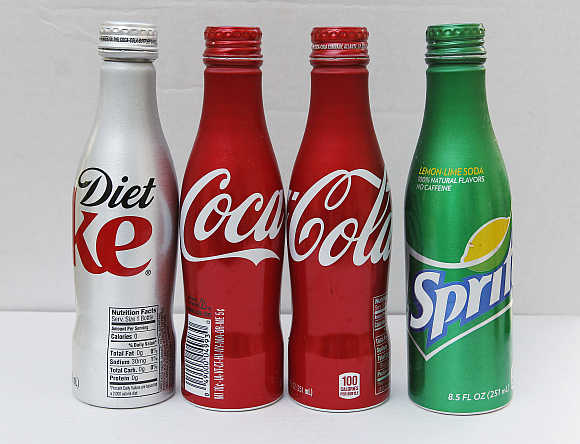 All aluminium bottles of Coca-Cola products are pictured in this photo illustration photographed in Burbank, California.