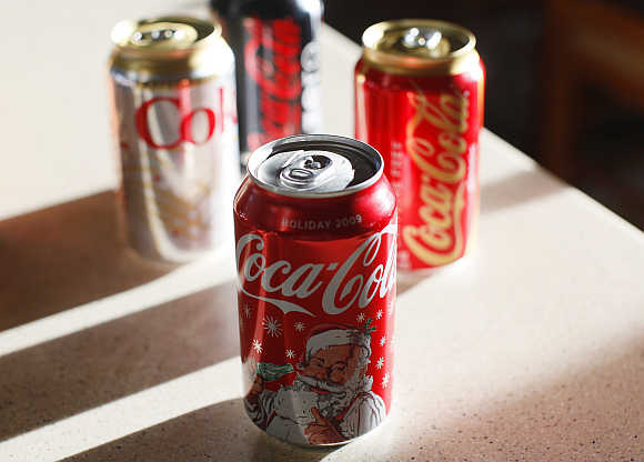 Coca-Cola products are displayed on a kitchen counter in Golden, Colorado, United States.