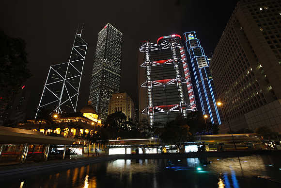 A view of Hong Kong's central financial district.