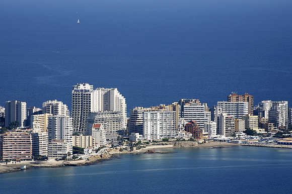 Residential buildings in Calpe near Valencia.