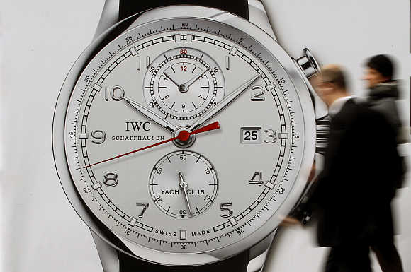 A poster of Swiss watch manufacturer IWC International Watch at the Bahnhofstrasse in Zurich.
