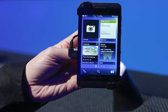 BlackBerry 10 device is seen after its launch in New York.