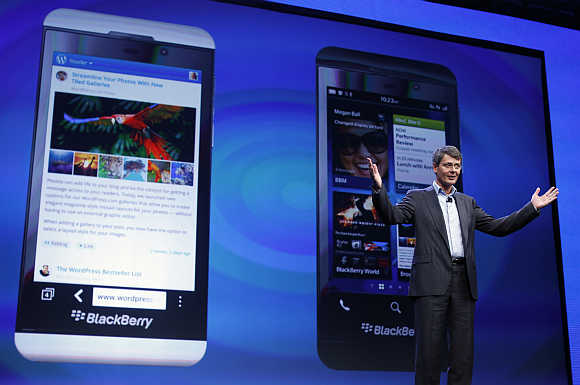 Research in Motion President and CEO Thorsten Heins introduces the BlackBerry 10 device in New York.