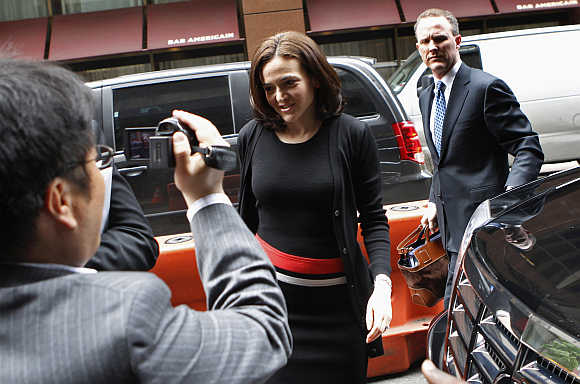 Facebook's COO Sheryl Sandberg arrives at New York City's Sheraton Hotel.