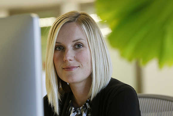 Facebook design chief Kate Aronowitz at her desk at the company's headquarters in Menlo Park, California.